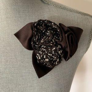 ST JOHN Vintage Brown Satin Tweed Rosette Brooch